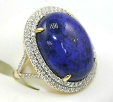 Natural Oval Lapis Lazuli & Diamond Halo Solitaire Ring 14k Yellow Gold 15.25Ct