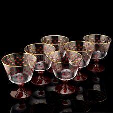 RUSSIAN Imperial Lomonosov Set 6 Glasses for Dessert Net Bordeaux Ice Cream