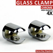 4 ADJUSTABLE SHELF SUPPORT GLASS BRACKETS CLAMP CHROME MIRROR EFFECT RACK 3-8 mm