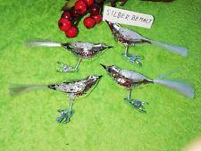 Christbaumschmuck Weihnachtsschmuck 4x Vogel auf Clip SILBER bemalt Glas Thürign