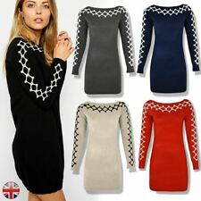 Ladies Womens Long Sleeve Jumper Dress Mini Knitted Stretchy Sweater Bodycon Top