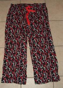 OLD NAVY Large 12 / 14 Elastic Waist Candy Cane Print Cotton Lounge Sleep Pants