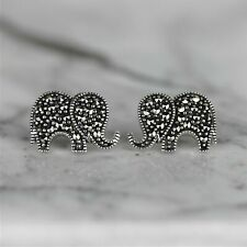 Sterling Silver 925 Marcasite Vintage Style Big Elephant Stud Earrings GIGI