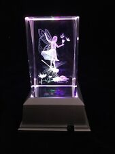Fairy With Dragonfly Lilypad-3D Laser Etched Crystal Block With 4 LED Light base