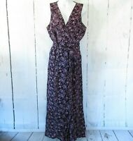 New Jack By BB Dakota Jumpsuit 6 Navy Blue Floral Faux Wrap Wide Leg Pants