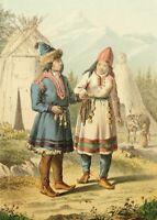 Völkerkundliche Darst. der Lappen: Mann, Frau u Kind mit Rentier, 1878, Farblith