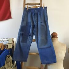 True Vintage French Workwear Faded Patched Distressed Chore Trousers Pants W29""