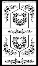 Armour Rub 'n' Etch Glass Etching Stencil Sheet ~ Floral Hearts 2