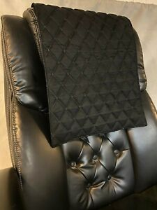 BLACK SUEDE  quilted recliner sofa chair love seat headrest arm rest leather pad