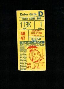 1964 Hank Aaron 2 HRs - Milwaukee Braves at New York Mets Ticket Stub EX