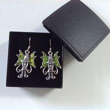 Plata esterlina Verde Esmalte Alas de Hadas Pixie Elf Angel Colgantes Pendientes de gota