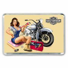 RETRO NOSTALGIA - HARLEY DAVIDSON MOTORCYCLE PINUP ART JUMBO FRIDGE MAGNET