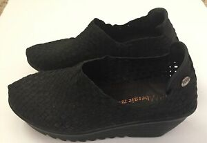Bernie Mev Womens Size 39 US 8 Black Woven Elastic Wedge Ankle High Shoes