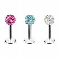 Surgical Steel Tragus Bar Piercing Stud Crystal Ball Monroe Labret for Women