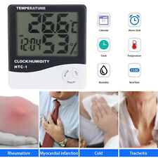 Thermometer Digital LCD Hygrometer Humidity Meter Room Indoor Temperature Clock