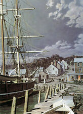 "John Stobart Print - Westport Point: Whaling Brig ""Kate Cory"" at Home Port 1862"