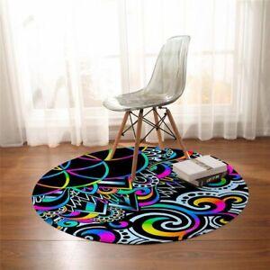 Trippy Alien Eye Floor Mat Watercolor Non-slip Round Carpet Bohemian Area Rug