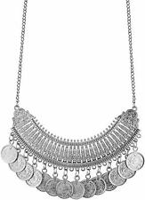 Afghan Indian Silver Oxidized Ethnic Boho Fashion Statement Coin Choker Necklace