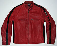 RARE Vintage 90s Ralph Lauren Polo Cafe Racer Leather Motorcycle Jacket M Biker