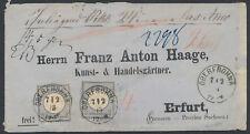 Dt. Reich 2 Groschen großer Schild MeF Wertbrief Oberfrohna 1872 Befund (S15283)