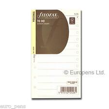 Filofax Personal Size Cotton Cream To Do Notepaper Insert 132253 Refill Insert