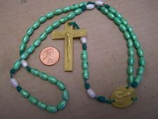 Rosary with Green Colored Plastic Beads - Mexico