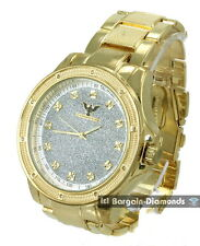 men big gold tone diamond business clubbing watch metal bracelet + leather strap
