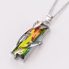 Ladies Handmade Rainbow Mystical Fire Topaz Silver Plated Pendant Charm Necklace