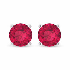 2.1 Ct Certified Ruby Glass Filled Stud Earring, Statement Women Earring