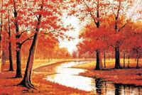 1000 Pieces Adult Puzzle Set Autumn Maple Trees River Jigsaw Difficult Puzzle LB
