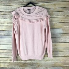 Who What Wear Women Sweater Cotton Knit Crew Neck Ruffle Pointelle Neck Pink XXL