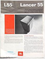 Vintage Lancer 55 L55 On Sheet JBL Seller BUYERS Guide Brochure