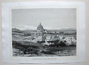 Rom, Roma - Vatikanstaat - Peterskirche / Dom - Dekorativer Holzstich 1885