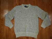 Vintage Peconic Bay Traders Womens sz Large Wool Sweater Birdseye Fisherman Crew