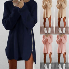 New Womens Winter Long Sleeve Jumper Tops Zipper Sweater Loose Casual Mini Dress