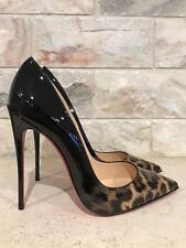 NIB Christian Louboutin So Kate 120 Black Leopard Patent Degrade Pump Heel 39