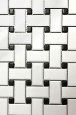 Porcelain Ceramic Tile Basket Weave Mosaic Sheet (300 x 300mm) White & Black