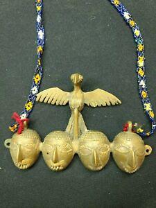 Naga Tribe Brass Head Bird Sculpture Necklace Tribal Art
