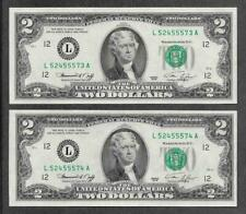 1976 L - ( 2 ) $2 UNC * Fancy Liars Poker 4-5's * Consecutive Notes