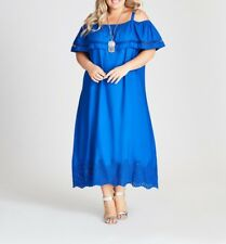 Plus Size Autograph Blue Flounce Cut out Hem Viscose Maxi Dress Size 18