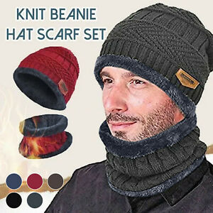 Women Men's Winter Beanie Hat and Scarf Set Warm Fleece Knitted Thick Knit Cap