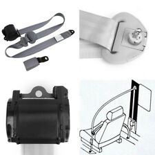 Gray Nylon 3 Point Retractable Auto Car Seat Lap Belt With Curved Rigid Buckle
