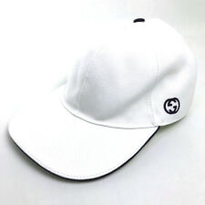 AUTHENTIC UNUSED GUCCI GG logo Baseball Cap Hat White Canvas 387554