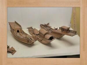 3 Antique Nautical Sailing Ship Schooner Hulls Model's  WOOD