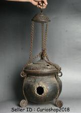"""26.4"""" Antique Tibet Buddhism Temple Bronze Dragon Incense Burner Censer Hanging"""