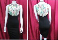 TED BAKER Green floral upper/ black bodycon sheath vra vroom dress SIZE 1 UK 6-8