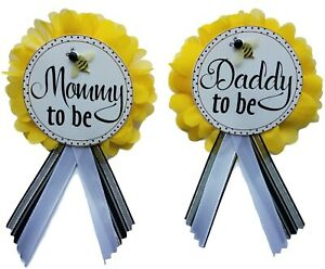 Personalized Baby Shower Pin Mommy Daddy to Bee Sprinkle Gender Reveal Grandma