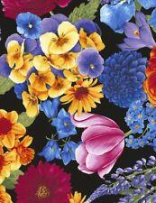 Floral Fabric - Petal Large Scale Flower Black - Timeless Treasures YARD