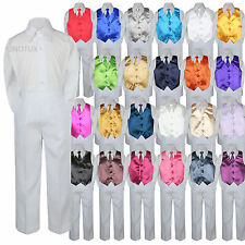23 Color 4 Pieces White Set Vest Necktie Boy Baby Toddler Formal Tuxedo Suit S-7