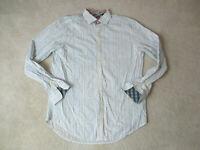 Robert Graham Button Up Shirt Adult Extra Large White Blue Striped Flip Cuff *